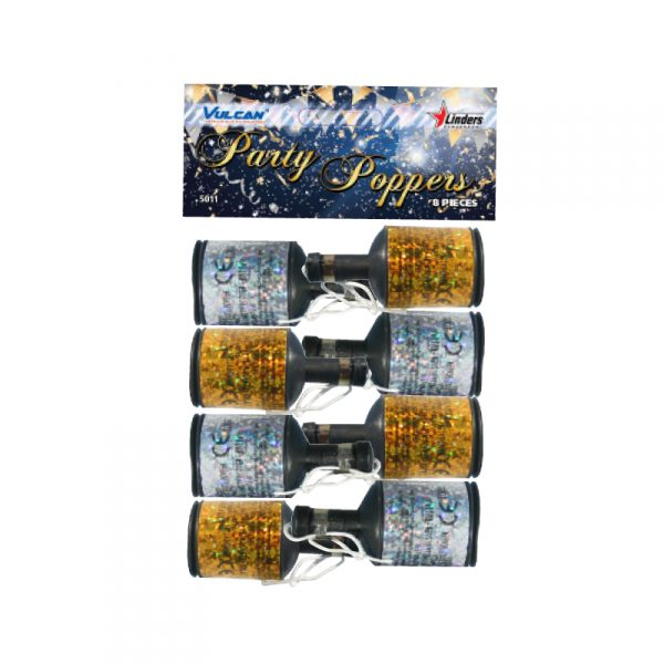 Party Poppers 8fp Guld & Silver