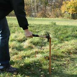 En stabil pinne slås ned i marken med hammare el. dyl.