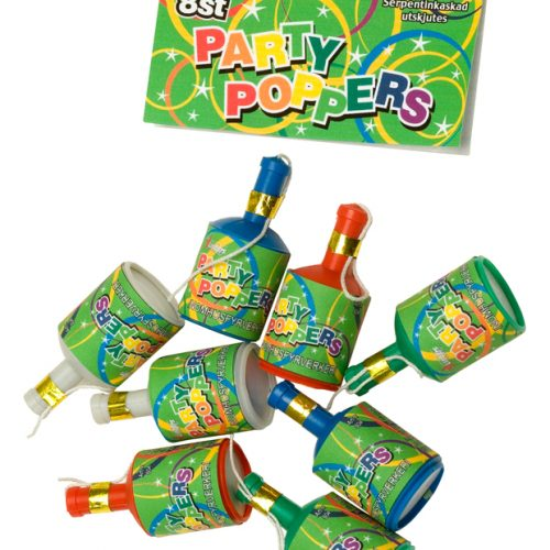 Party Poppers 8fp Färgade