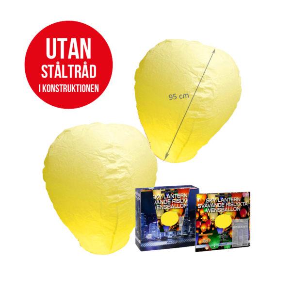 Svävande Rislyktor Gula 2-pack (Sky Lantern)